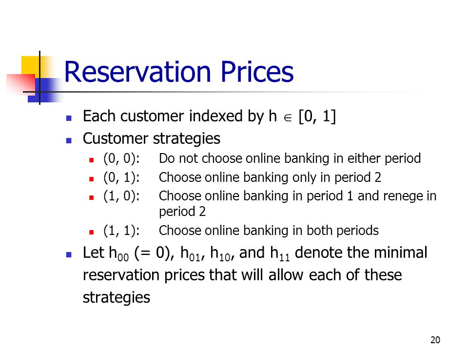 Reservation Prices Each customer indexed by h  [0, 1]